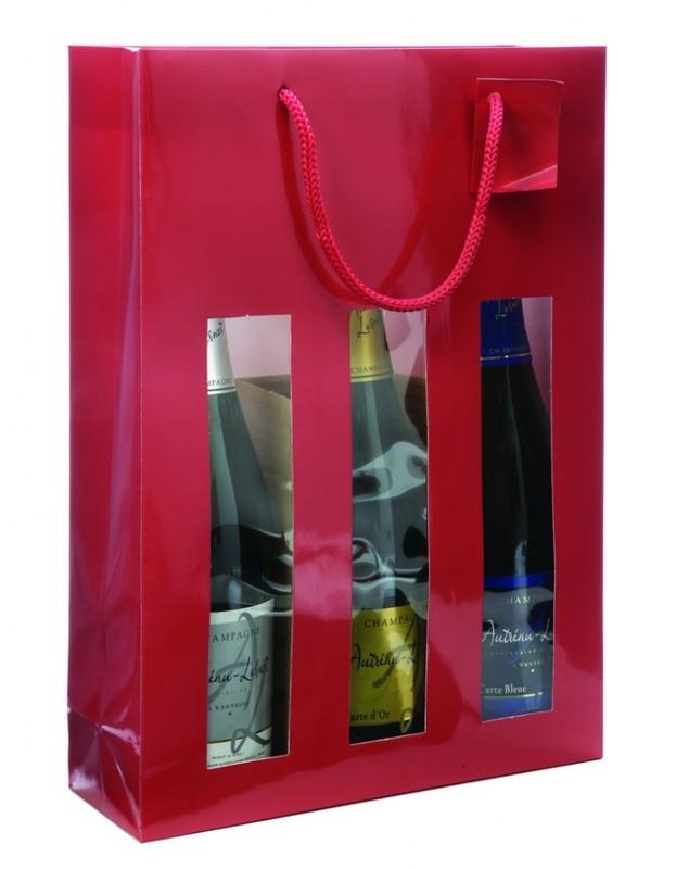 sac 3 bouteilles avec fenetre mag embal fete. Black Bedroom Furniture Sets. Home Design Ideas